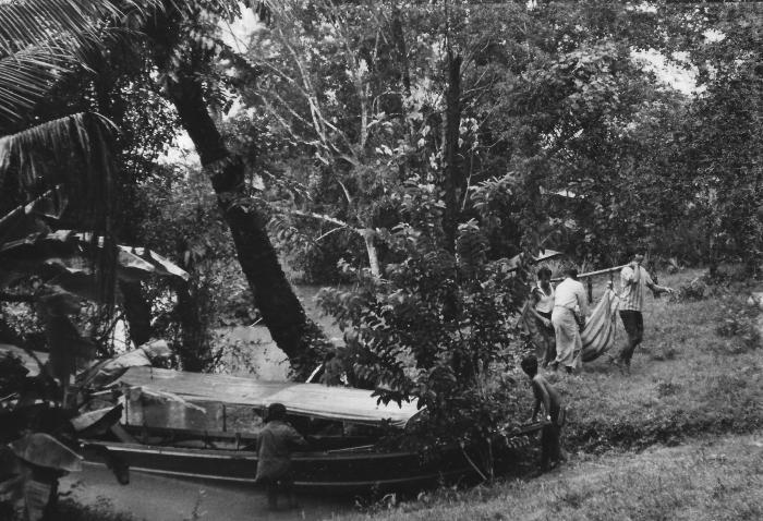 Boat, patient, hammock, old hospital site