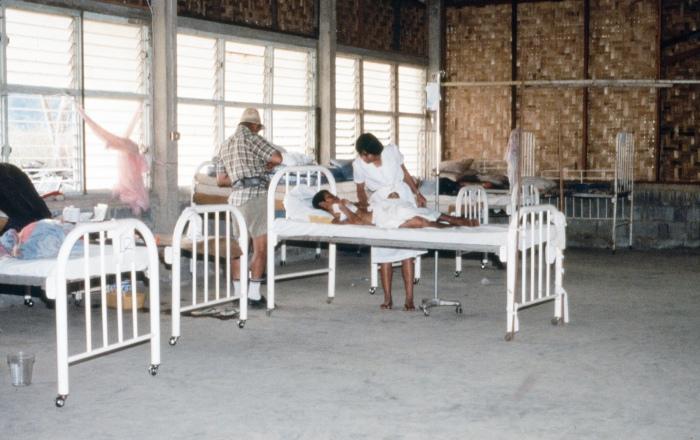 Woven bamboo walls in Kwai River Christian Hospital.