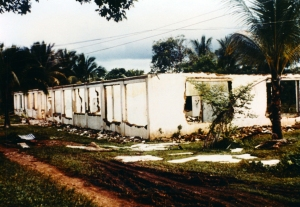 The shell of the original Kwai River Christian Hospital building: forlorn but still standing.