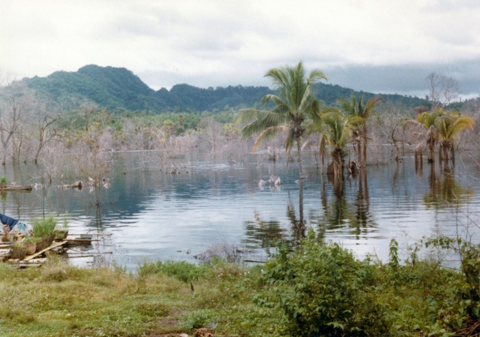 Original site of the Kwai River Christian Hospital, now covered by the waters of the reservoir. About 1985.